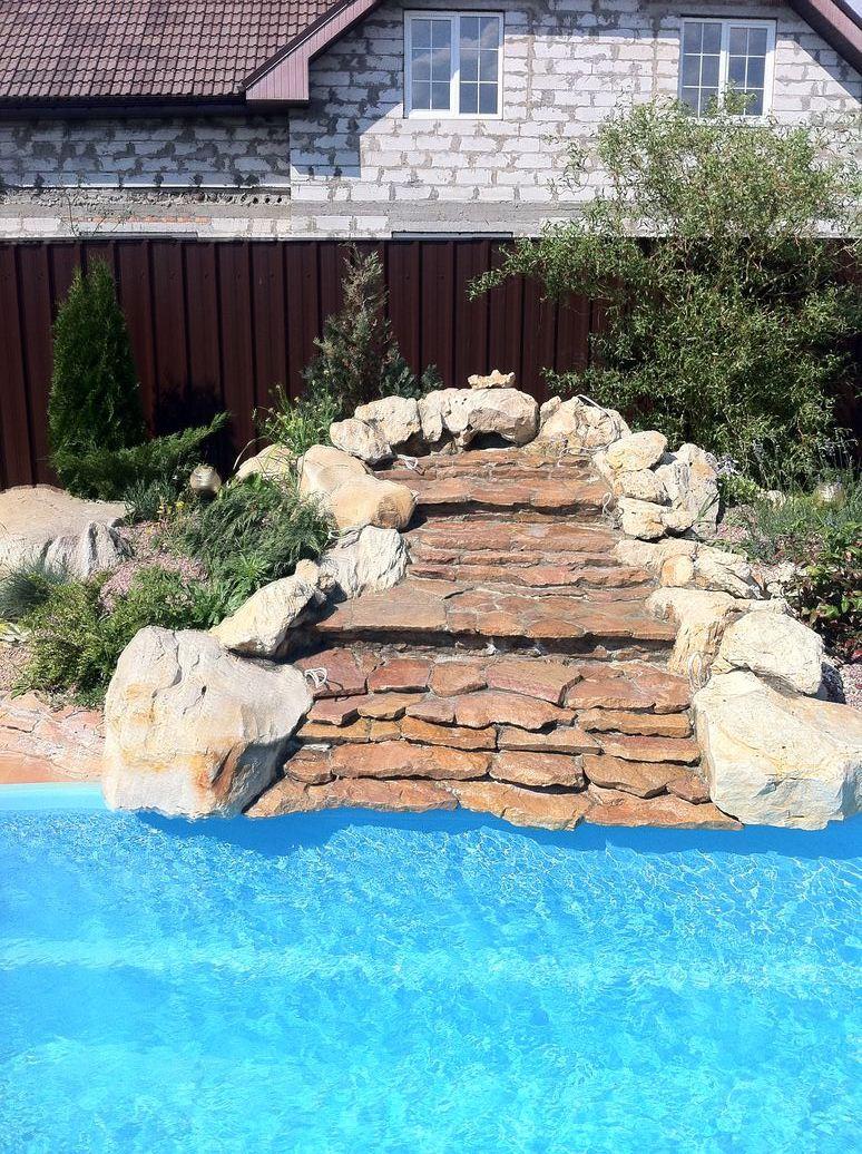 Искусственный водопад в дизайне сада