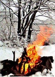 кострище в снегу